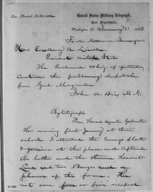 John A. Dix to Abraham Lincoln, Sunday, January 11, 1863  (Telegram sending dispatch from Richmond newspaper concerning battle at Murfreesboro)