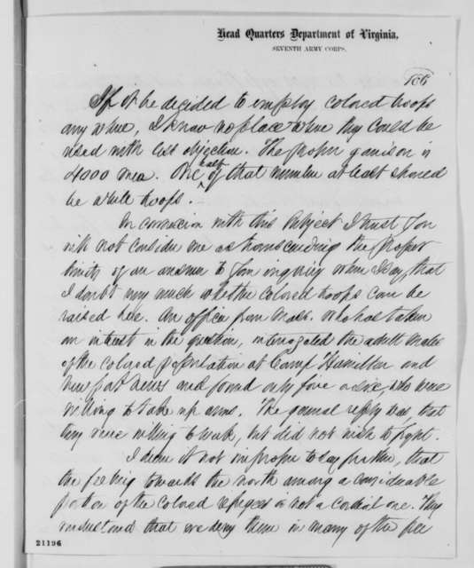 John A. Dix to Abraham Lincoln, Thursday, January 15, 1863  (Opinion on garrisoning Fort Monroe and Yorktown with black troops)