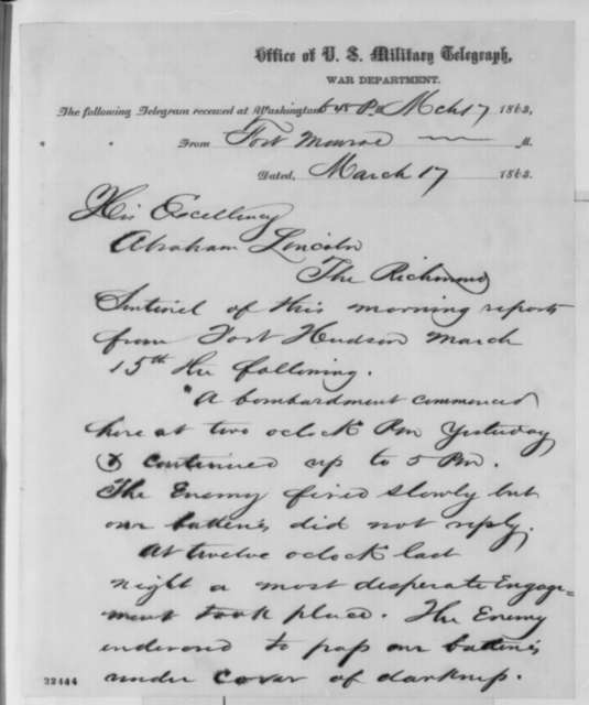 John A. Dix to Abraham Lincoln, Tuesday, March 17, 1863  (Telegram reporting news from Richmond papers)