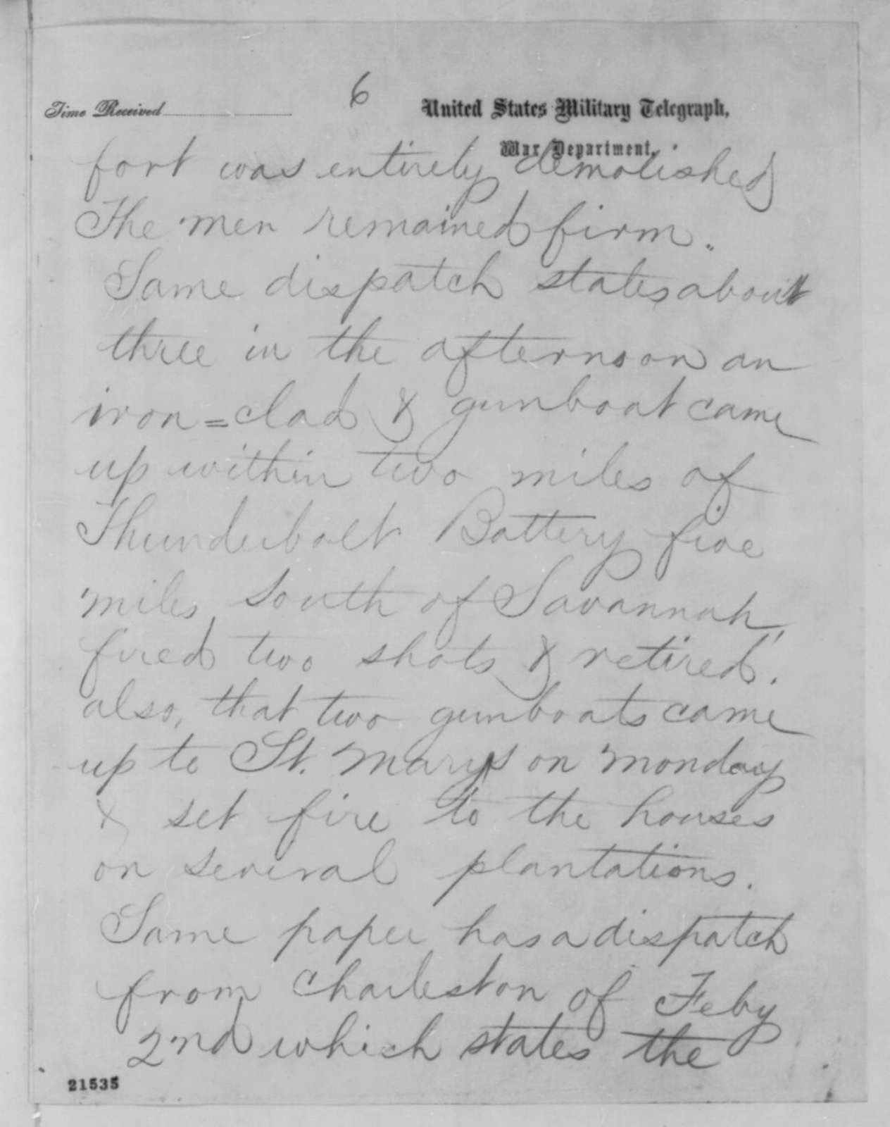 John A. Dix to Abraham Lincoln, Wednesday, February 04, 1863  (Telegram reporting news from Richmond papers)