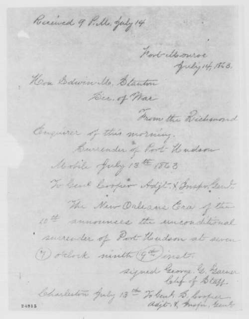 John A. Dix to Edwin M. Stanton, Tuesday, July 14, 1863  (Telegram reporting news from the Richmond papers)