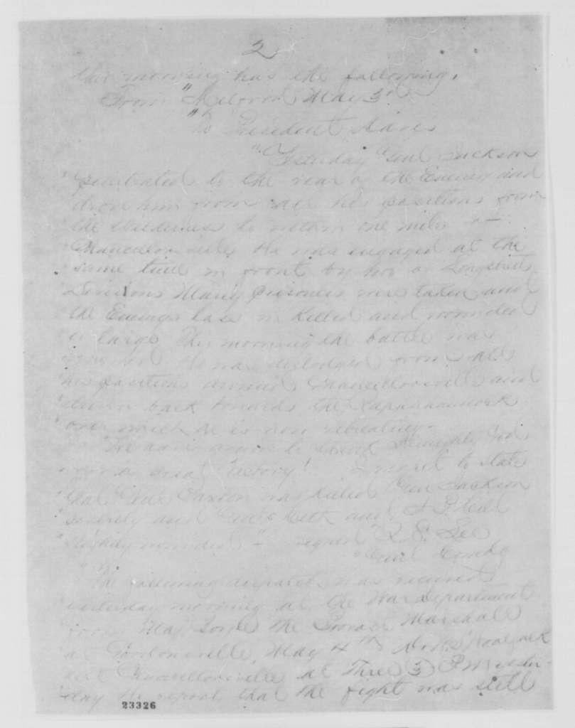 John A. Dix to Edwin M. Stanton, Tuesday, May 05, 1863  (Telegram sending accounts from Richmond papers regarding the battle of Chancellorsville)