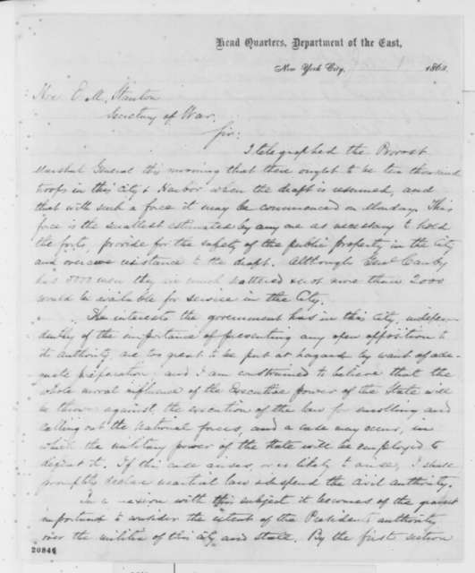 John A. Dix to Edwin M. Stanton, Wednesday, August 12, 1863  (Draft resistance in New York)