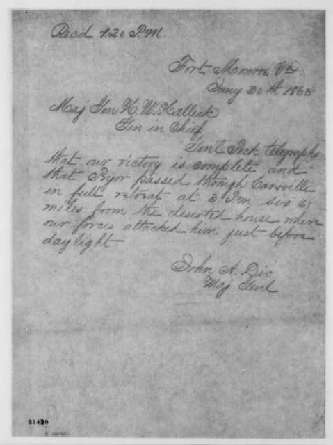 John A. Dix to Henry W. Halleck, Friday, January 30, 1863  (Telegram reporting victory of General Peck)