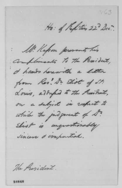 John A. Kasson to Abraham Lincoln, Tuesday, December 22, 1863  (Cover letter)