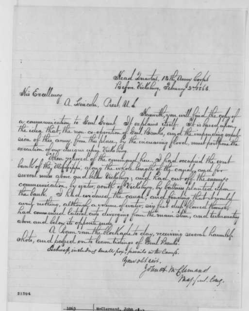 John A. McClernand to Abraham Lincoln, Monday, February 02, 1863  (Cover letter)