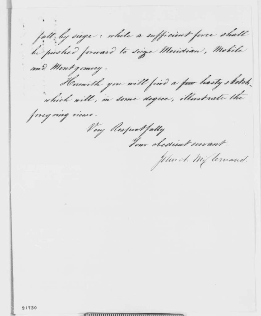 John A. McClernand to Abraham Lincoln, Saturday, February 14, 1863  (Criticism of General Grant and military advice)