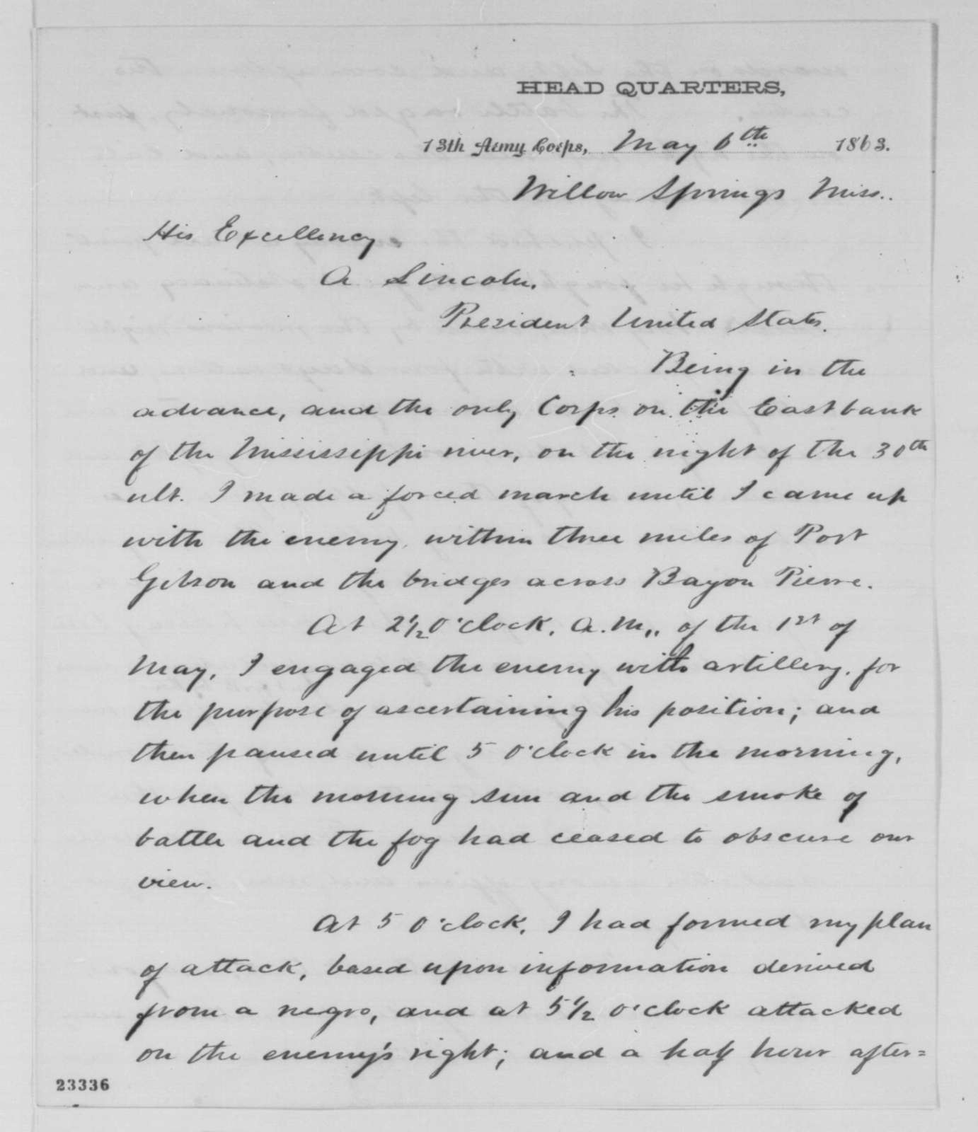 John A. McClernand to Abraham Lincoln, Wednesday, May 06, 1863  (Report on engagement with the enemy)