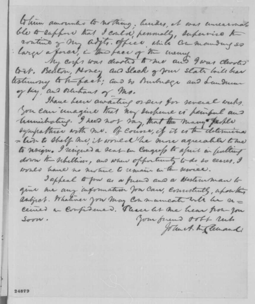 John A. McClernand to John P. Usher, Thursday, July 16, 1863  (Seeks information regarding his fate as a general)