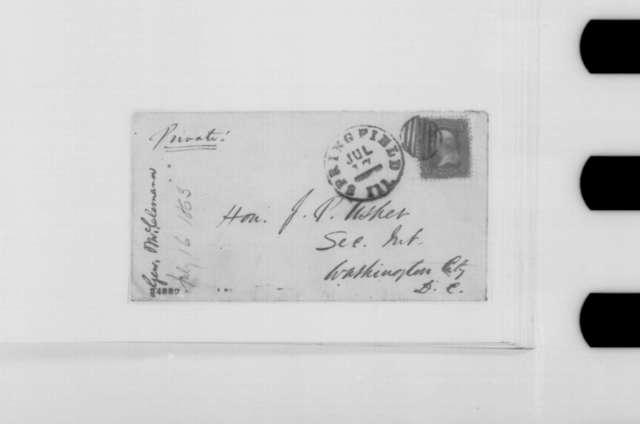 John A. McClernand to John P. Usher, Thursday, July 16, 1863  (Seeks information regarding his fate as a general)