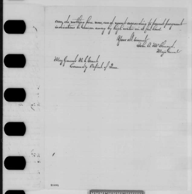 John A. McClernand to Ulysses S. Grant, Sunday, February 01, 1863  (Requests permission to take troops up the Arkansas River)