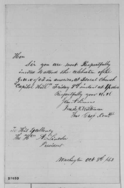John A. Simms, et al. to Abraham Lincoln, Thursday, October 08, 1863  (Invitation to attend celebration at Israel Church)
