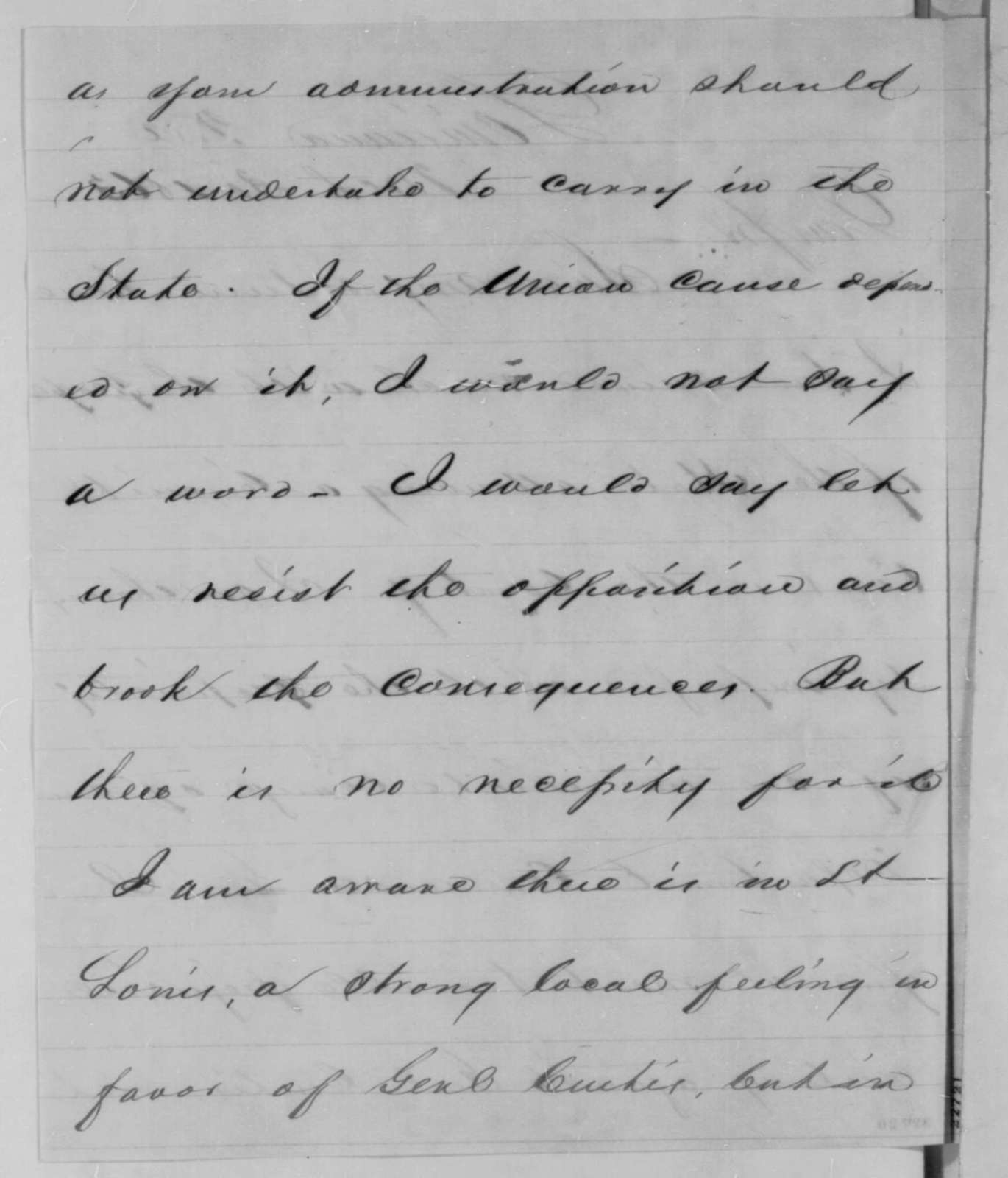 John B. Henderson to Abraham Lincoln, Monday, March 30, 1863  (Removal of General Curtis)