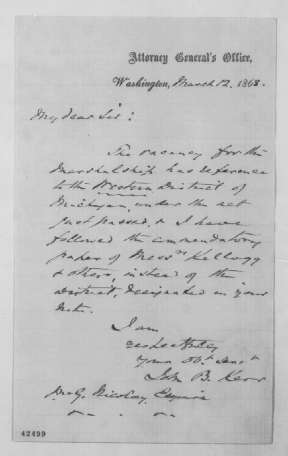 John B. Kerr to John G. Nicolay, Thursday, March 12, 1863  (Appointment)