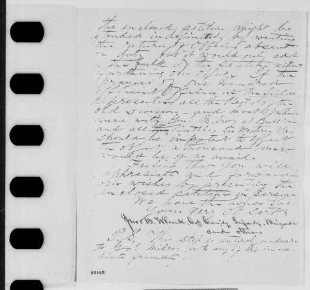 John B. Klunk, et al. to John P. Usher, Monday, July 27, 1863  (Send petition on behalf of General Milroy)