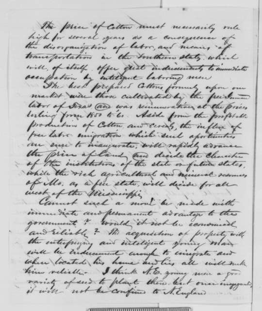 John Bachelder to Abraham Lincoln, Monday, July 27, 1863  (Cotton in Texas)