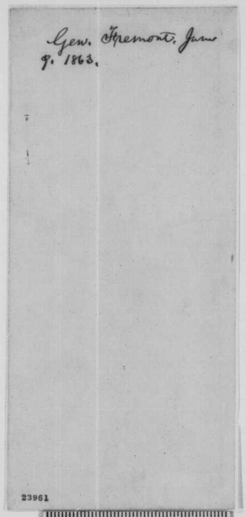 John C. Fremont to Charles Sumner, Tuesday, June 09, 1863  (Raising black troops)