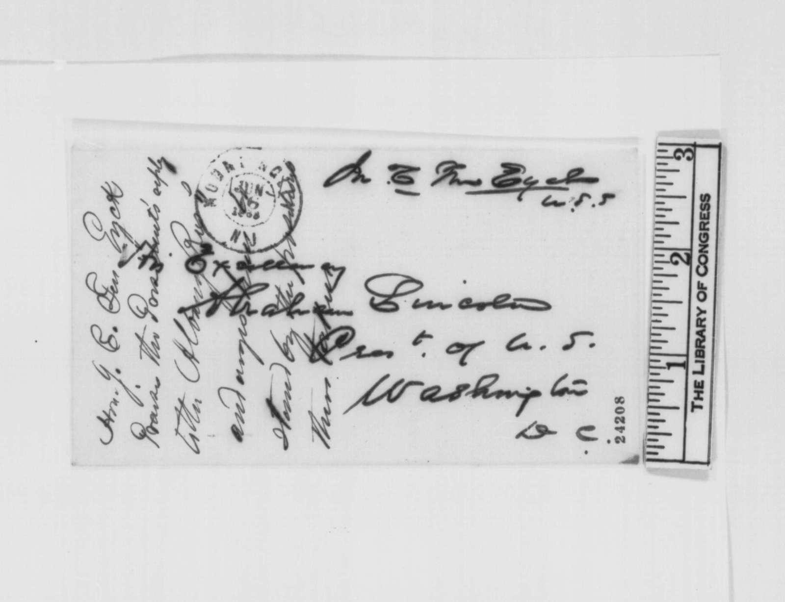 John C. Ten Eyck to Abraham Lincoln, Tuesday, June 16, 1863  (Praise for Lincoln's letter to Erastus Corning)