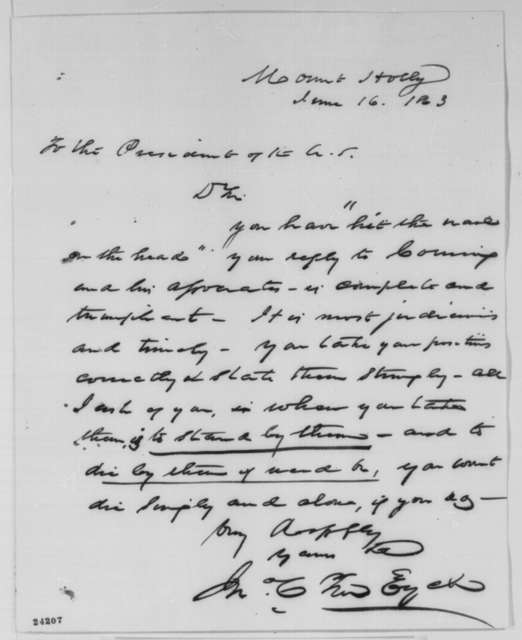 John C. Ten Eyck to Abraham Lincoln, Tuesday, June 16, 1863  (Praise for Lincoln's letter to Erastus Corning)