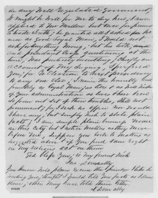 John Donnally to Abraham Lincoln, Thursday, November 26, 1863  (Complains about William P. Mellen)
