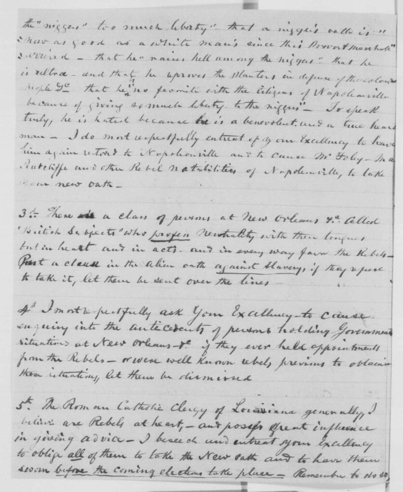 John E. Tallon to Abraham Lincoln, Saturday, December 26, 1863  (Conditions in Louisiana)