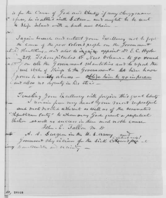 John E. Tallon to Abraham Lincoln, Saturday, December 26, 1863  (Conditions in Louisiana)