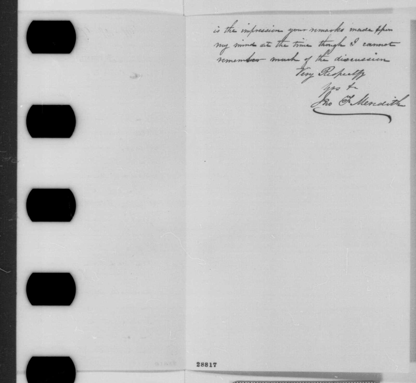 John F. Meredith to James L. Ridgely, Monday, December 21, 1863  (Ridgely's position on emancipation)