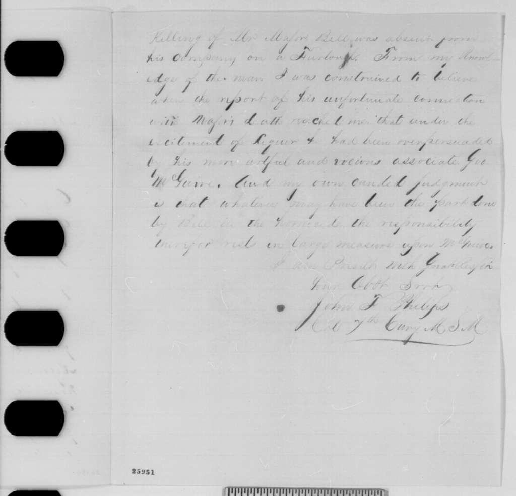 John F. Philips to Abraham Lincoln, Monday, August 31, 1863  (Case of David Bell)