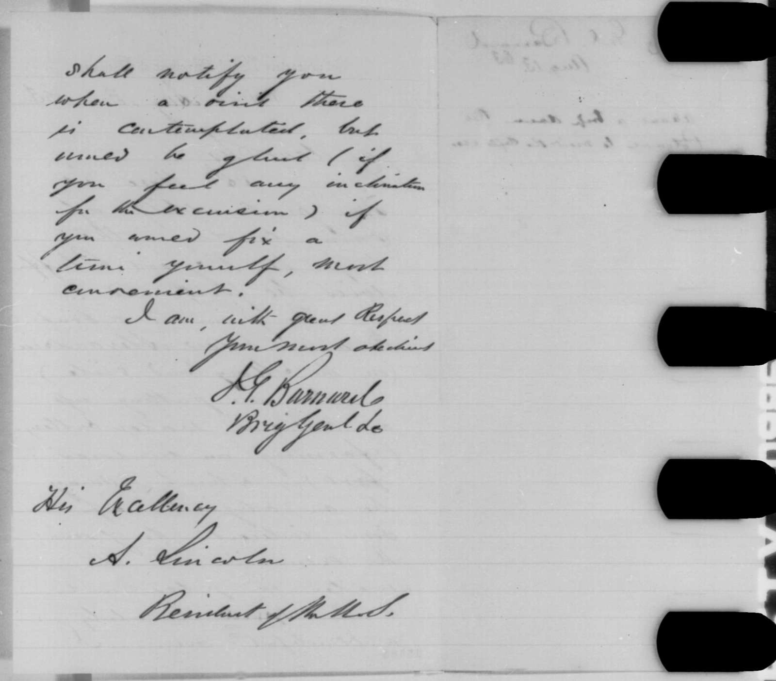 John G. Barnard to Abraham Lincoln, Thursday, August 13, 1863  (Trip to Roger's Bluff)