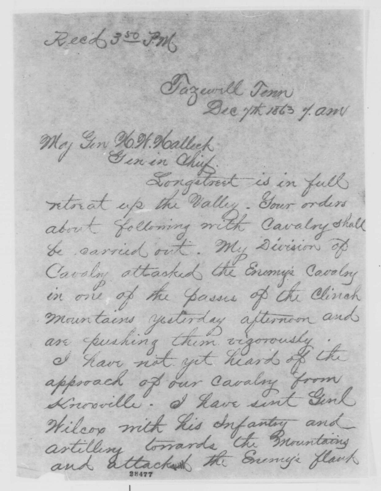John G. Foster to Henry W. Halleck, Monday, December 07, 1863  (Telegram concerning military affairs in Tennessee)