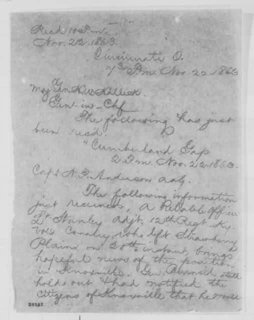 John G. Foster to Henry W. Halleck, Sunday, November 22, 1863  (Telegram reporting military situation in Tennessee)