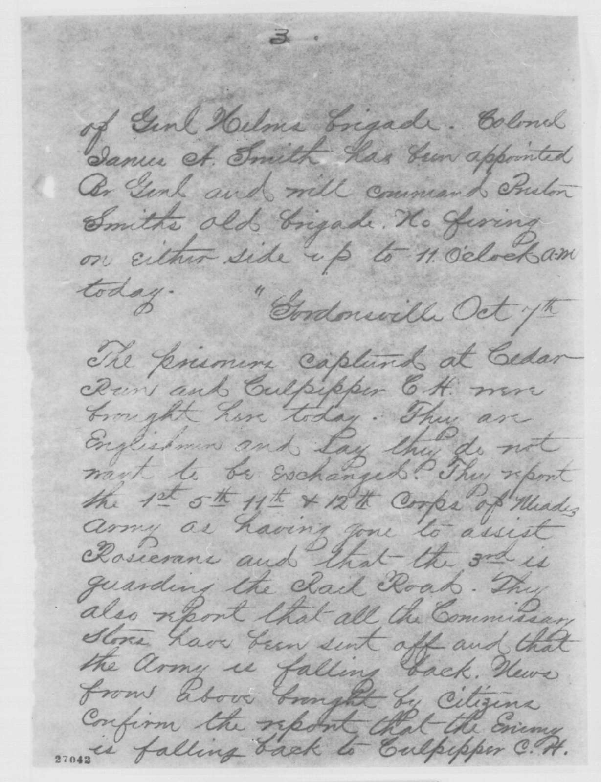 John G. Foster to Henry W. Halleck, Thursday, October 08, 1863  (Telegram reporting news from Richmond papers)