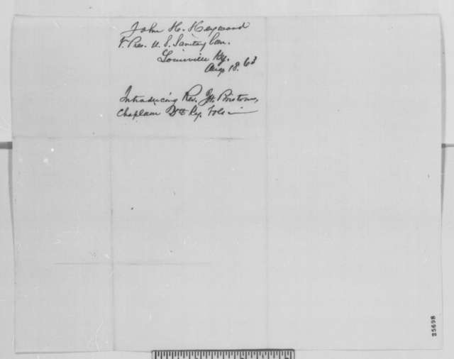 John H. Heywood to Abraham Lincoln, Tuesday, August 18, 1863  (Introduces James H. Bristow)