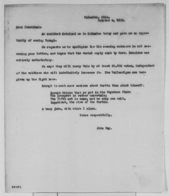 John Hay to Abraham Lincoln, Sunday, October 04, 1863  (Ohio politics)