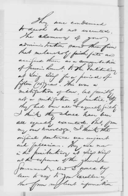 John Hughes to Abraham Lincoln, Friday, January 23, 1863  (Appeal on behalf of three sailors convicted of murder)