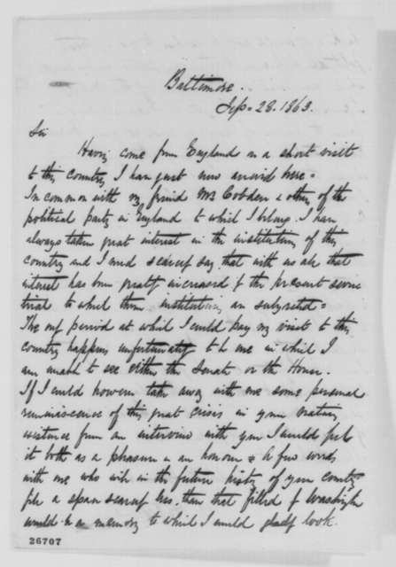John Hutchinson to Abraham Lincoln, Monday, September 28, 1863  (Seeks interview)