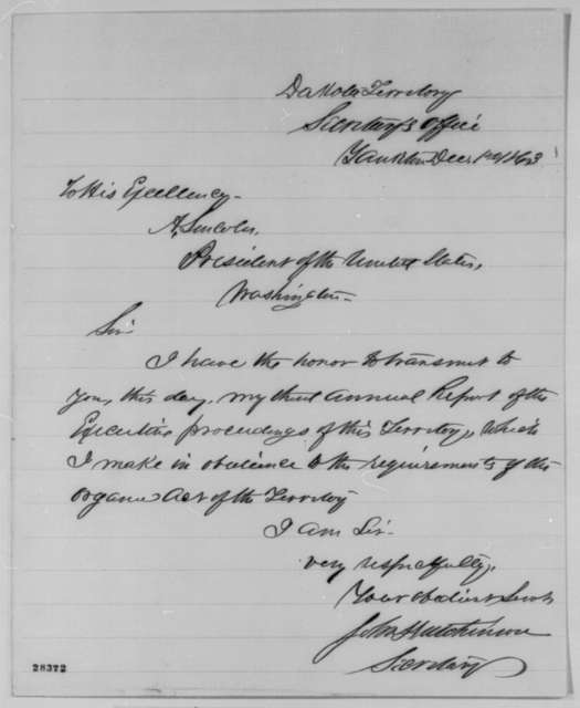 John Hutchinson to Abraham Lincoln, Tuesday, December 01, 1863  (Sends annual report)
