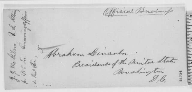 John J. McGilvra to Abraham Lincoln, Saturday, February 14, 1863  (Affairs in Washington Territory)