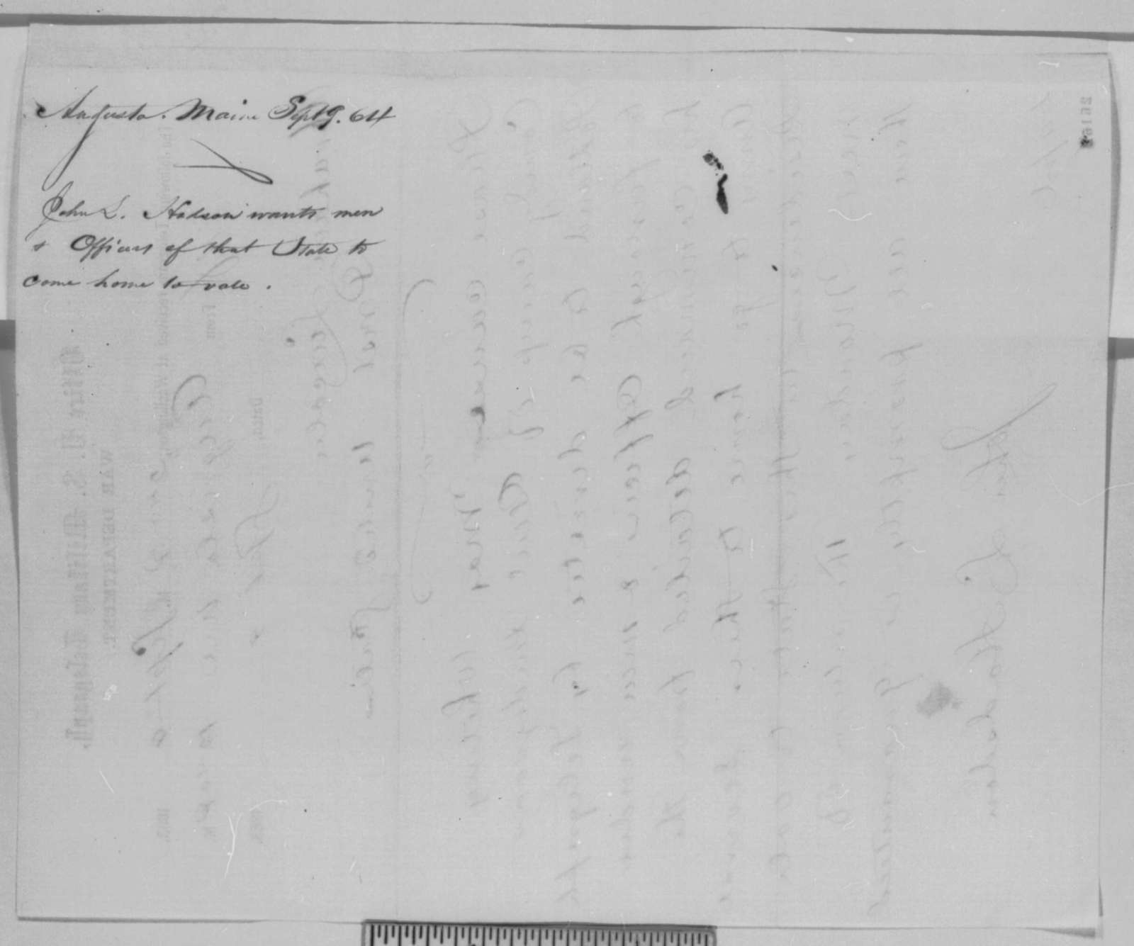 John L. Hadsdon to Abraham Lincoln, Wednesday, September 09, 1863  (Telegram concerning soldier vote in Maine)