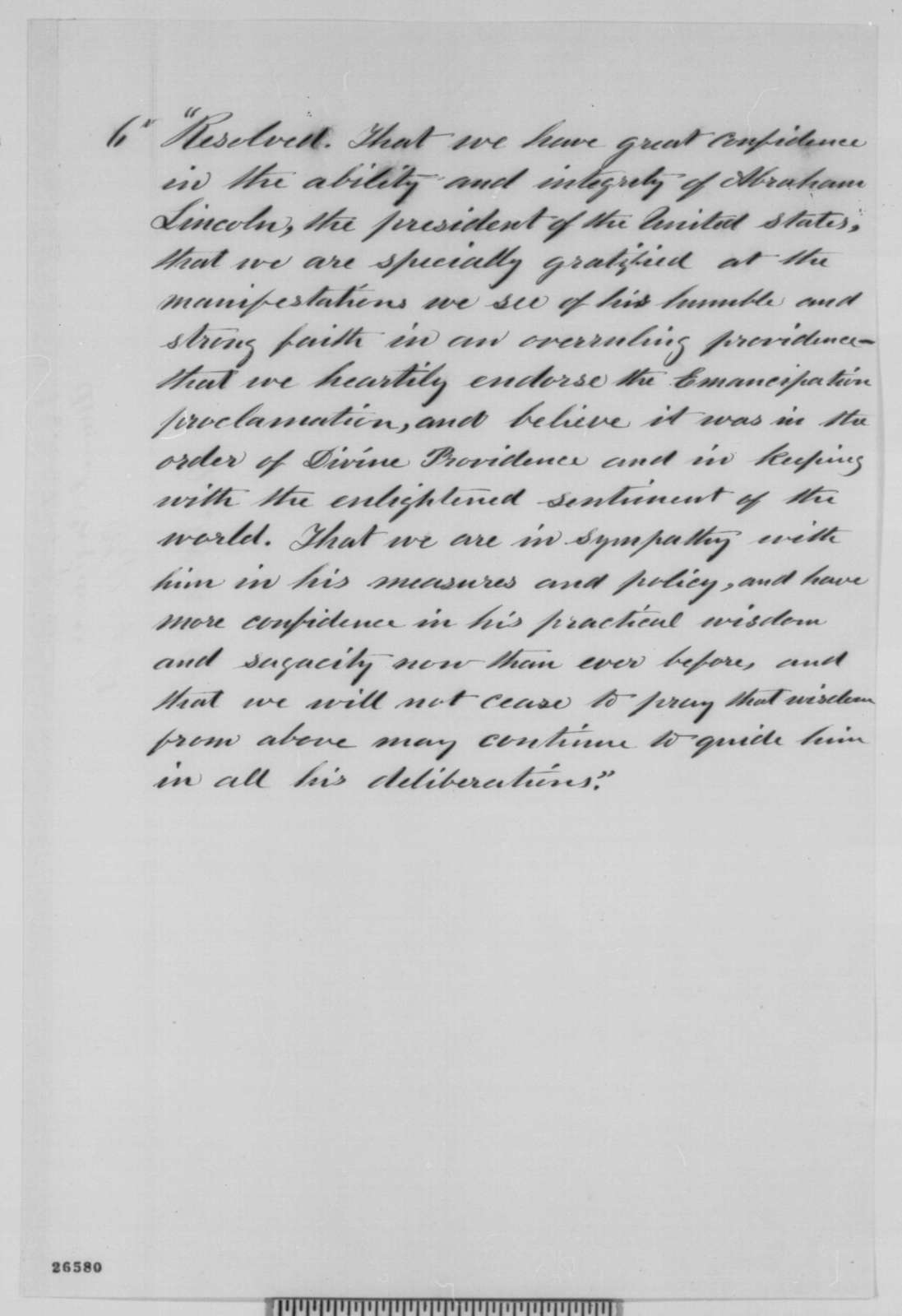 John Laverty to Abraham Lincoln, Thursday, September 24, 1863  (Sends resolution from Indiana Annual Conference)