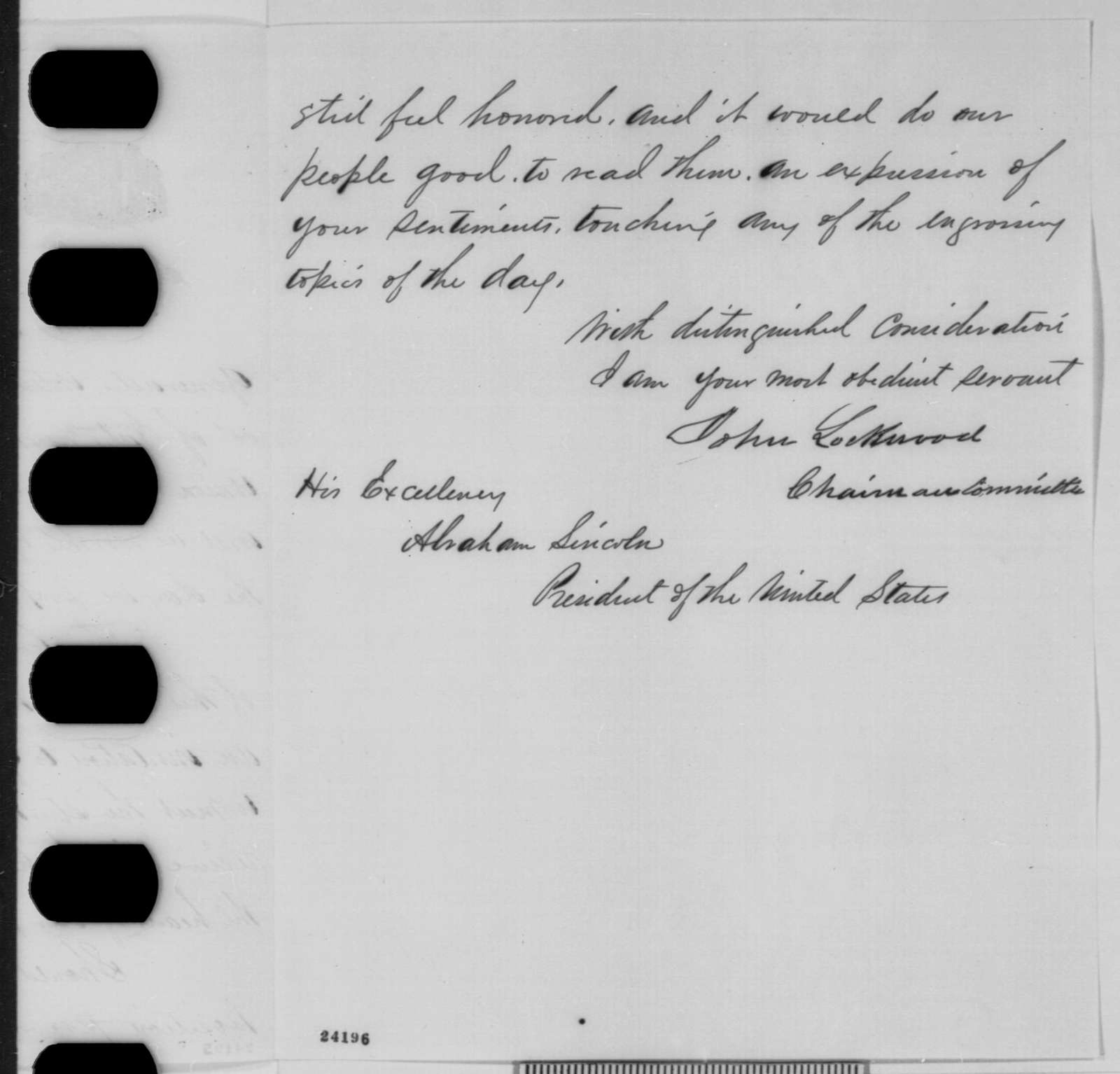 John Lockwood to Abraham Lincoln, Tuesday, June 16, 1863  (Invitation to attend meeting in Milwaukee)