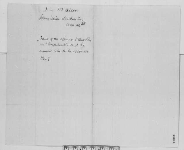 John M. Allen to Abraham Lincoln, Wednesday, October 14, 1863  (Political affairs in Dakota Territory)