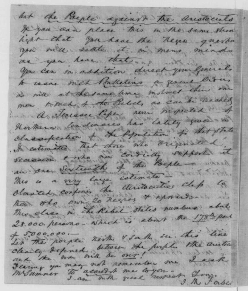 John M. Forbes to Abraham Lincoln, Tuesday, September 08, 1863  (Praise for Lincoln's letter to James Conkling and discussion of political issues)