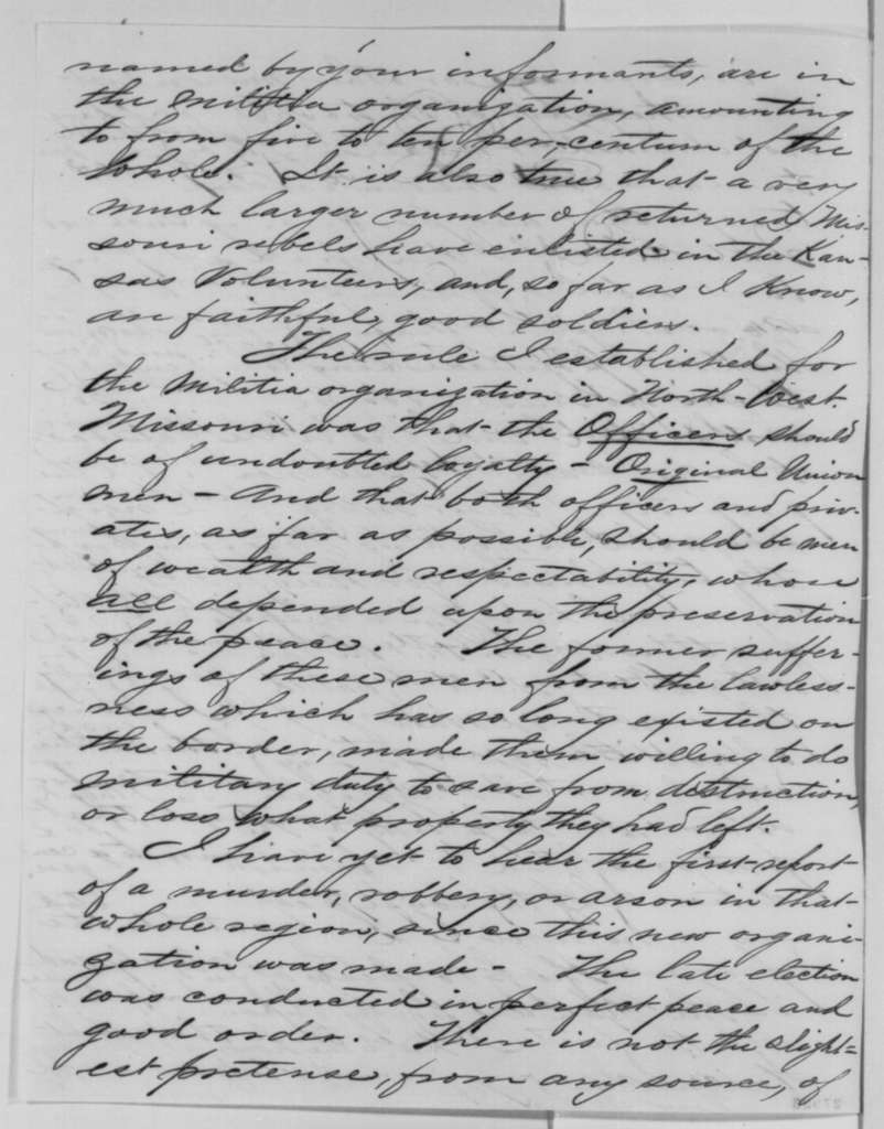 John M. Schofield to Abraham Lincoln, Monday, November 09, 1863  (Reply to Lincoln's October 28 letter regarding disloyal members of the militia)