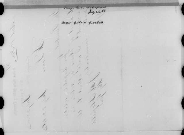 John M. Schofield to Abraham Lincoln, Wednesday, July 22, 1863  (Telegram in response to Lincoln's dispatch of July 22)