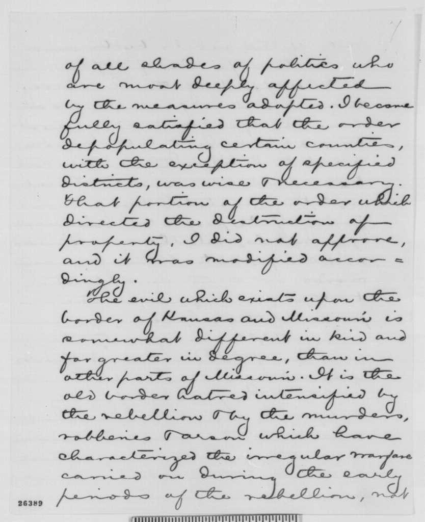 John M. Schofield to Edward D. Townsend, Monday, September 14, 1863  (Report on affairs in Kansas; endorsed by John C. Kelton, Sept. 22, 1863)