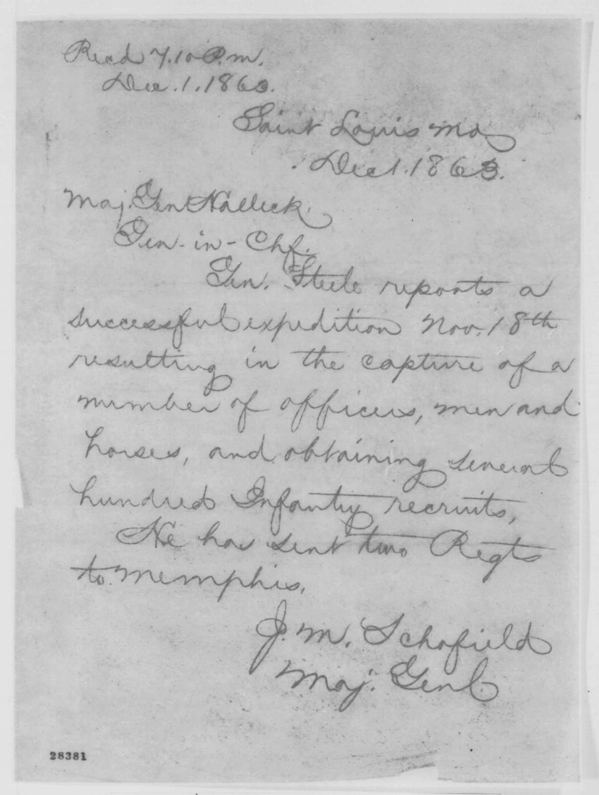 John M. Schofield to Henry W. Halleck, Tuesday, December 01, 1863  (Telegram concerning military affairs)
