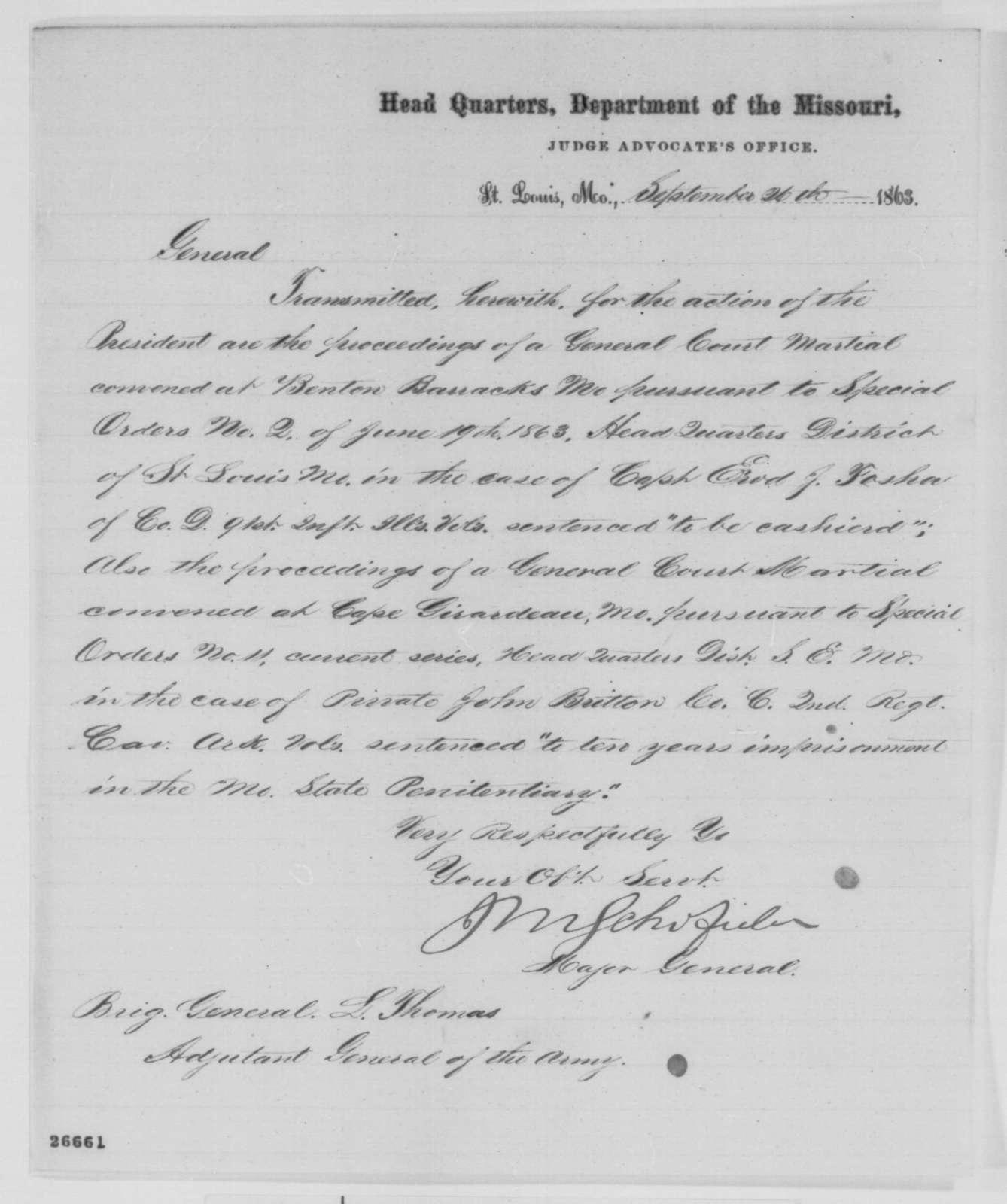 John M. Schofield to Lorenzo Thomas, Saturday, September 26, 1863  (Sends court martial cases)