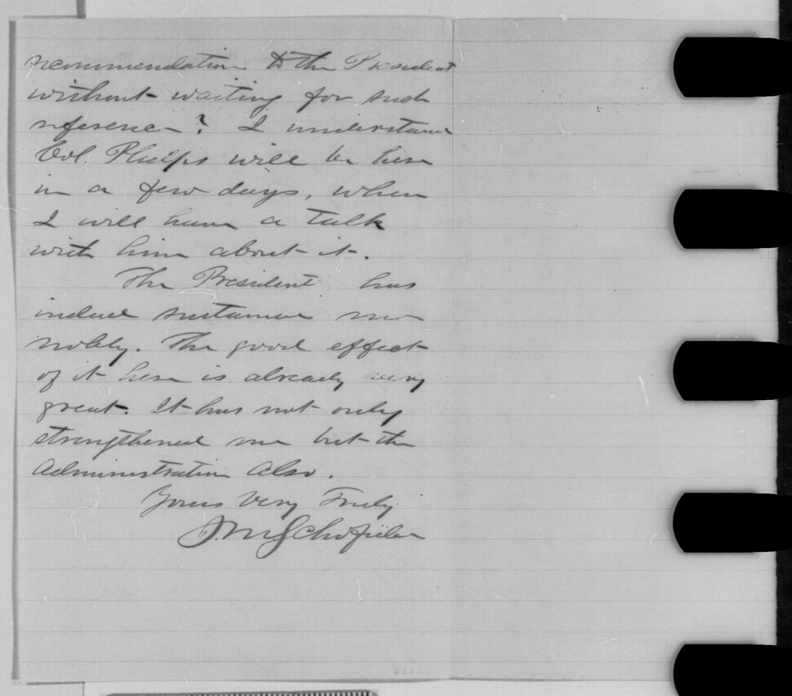 John M. Schofield to Montgomery Blair, Thursday, October 22, 1863  (Promotion for Colonel Phelps)
