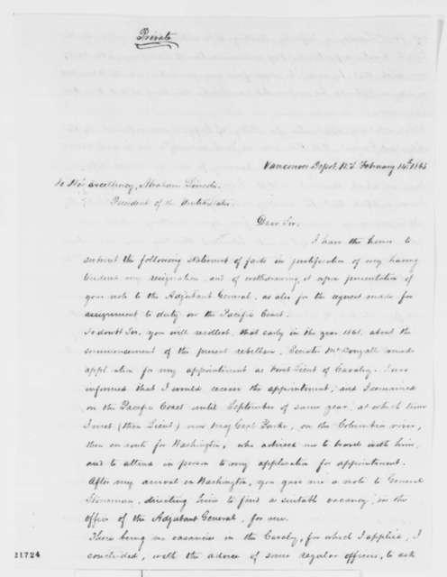 John N. King to Abraham Lincoln, Saturday, February 14, 1863  (Military career)